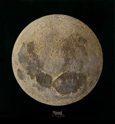 Painting of the Moon from the artist's own photographs. Julius Grimm, 1888.
