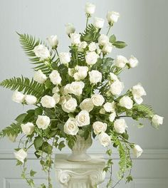 pretty white rose arrangement
