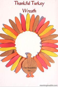 Thankful Turkey Wreath from Mom Inspired Life