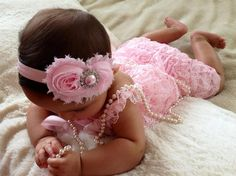 Light Pink Vintage Lace Petti Romper  by MyLilSweetieBoutique. If I only had a girl...  What a sweet photo shoot idea...