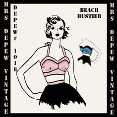 Depew 1018 // Beach Bustier 1950's Style Halter Top ...would work well as a playsuit top, and could make use of a contrast fabric