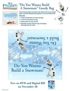 Do you wanna build a snowman? Find out how to make an Olaf Goody Bag and you can be the life of any party! Free from your friends at Disney Movie Rewards #FrozenFridays