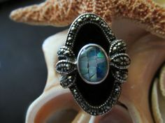 Opal and Marcasite Ring Sterling Silver Onyx  Size 8