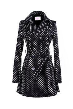Cute! the dot, polka dots, style, polkadot, black white, polka dot jacket, closet, trench coats, dot trench