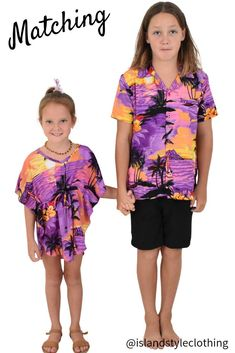 Sibling Matching Hawaiian Party Clothing - Purple Sunset Boys & Girls matching Hawaiian clothing. #hawaiianshirts #boyshawaiianshirt #kaftan #luau #cruisewear #fancydress #costumes #party