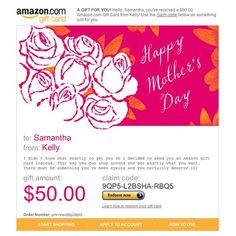 Amazon Gift Card - E-mail - Happy Mother's Day - Roses $50.00