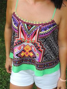 "Bright, Colorful, Boho tank! ""Mixed Signals Tank"" https://www.pinkslateboutique.com/ProductDetails.asp?ProductCode=mixedsignalstank"
