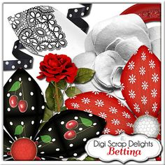 Red and Black Digital Scrapbooking Kit: Bettina Flowers, Chevron, Embellishments