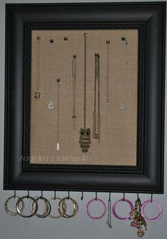 DIY Mirror Makeover - From Drab to Fab Took a picture frame and turned it into Burlap covered necklace holder - Addicted 2 Savings 4 U