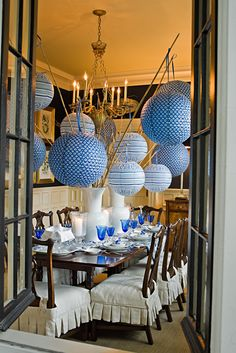 dining rooms, table settings, lantern centerpieces, chair covers, stick, blue, paper, dinner parties, seat covers