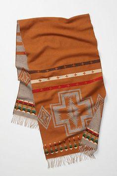 aztec scarf, white jeans