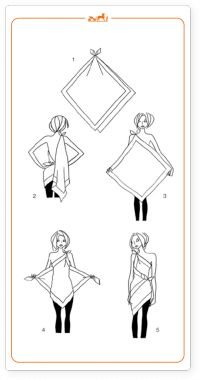 Straight from France. How to tie your large scarf into a dress. Excited to do this!