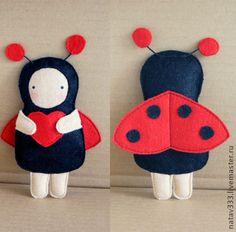 felt ladybug, leuk ideeën, ladybug parti, felt craft, christma ornament
