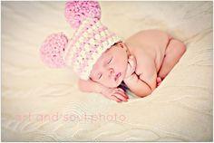 Newborn Baby Girl Photo Prop Hat by MitziKnitz on Etsy, $22.00