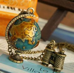 Globe and telescope necklace