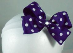 Hair bow 5 in Purple polka dot bow on 1 in by BowtisticDreams