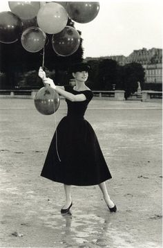 Audrey Hepburn during the filming of Funny Face, 1956