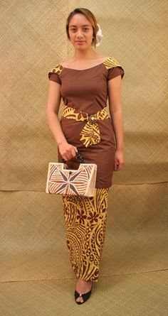 Custom-Made Pacific Print Puletasi with Cinched Waist