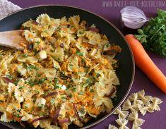 Pasta, carrots, onions, brie, greek yoghurt