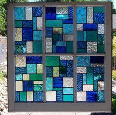 Blues Large Reclaimed Wood Window by DebsGlassArt on Etsy
