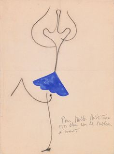 Joan Miró (1893-1983). Roméo et Juliette, Costume design for Alice Nikitina, ca. 1926. Charcoal crayon and tempera. Howard D. Rothchild Collection. pf MS Thr 414.4 (105). Bequest, 1989.