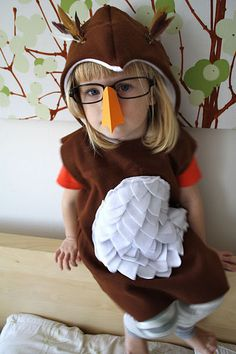 Owl Costume With Paper Beak- brown hoodie with white felt feathers