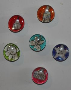 fridge magnet glass beads with the kids doodles in them