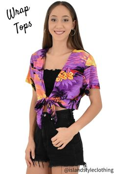Ladies Wrap Top - Purple Sunset - perfect for a music festival, flamingo party, cruise or casual. Tie over your bikini at the beach. #summerwear #summer #fashion #luauparty #ladies #fashion #hensnight #cruisewear #partyshirts #bachelorette #springbreak #r