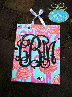 #Monogram #painting in new #LillyPulitzer flamingo resort print with #vine #monogram
