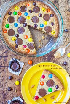 Triple Peanut Butter Cookie Pie - This fast & easy cookie pie has peanut butter worked in 3 different ways. If you're a peanut butter lover, this pie is for you!