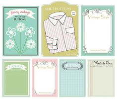 free printable button cards (cute!)