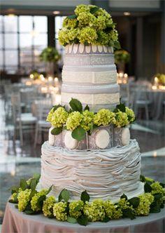 Grey & Ivory Wedding Cake with Green Hydrangeas gray weddings, vanilla cake, ivory wedding, wedding colors, wedding cakes, grey and green weddings, ivory and green wedding cake, flower, garden weddings