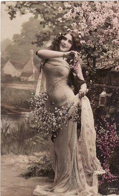 early 1900s...Beautiful Edwardian Lady...Flowers...original vintage french postcard...paper ephemera via Etsy
