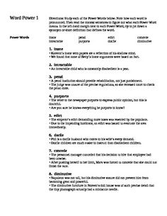 Looking for a word list to strengthen student vocabulary? This 4 page, 8 word vocabulary work uses words taken from the ACT rolls and works students through definitions, context applications, and analogies of words. Ready to print and pass out- enhance your vocabulary word power in your classroom today! Grades 6-12. Free.