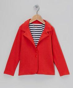 Crimson Stripe-Lined Jacket