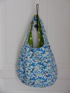 Sac réversible porté épaule à pois vert et blanc et feuillage : Fée Home, A Little Market e-shop