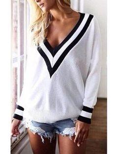 White V Neck Long Sleeve Knit Sweater