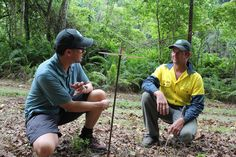 Threatened Species commissioner Gregory Andrews (left) planning for a feral cat-free future with Christmas Island National park invasive species officer Dion Maple http://blog.parksaustralia.gov.au/2014/08/12/a-feral-cat-free-future-for-christmas-island/