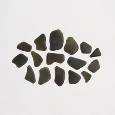 Genuine Sea Glass Frosted Black Green Surf Tumbled for by JanJat