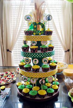 John Deere Baby Shower Cupcake Tower