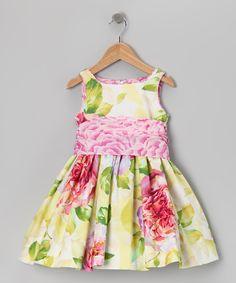 Green & Pink Cabbage Rose Dress - Toddler & Girls