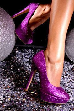 purple sparkle heels <3