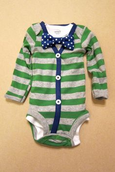 I mean really? So stinkin cute! Baby Boy Outfit - Green/Gray Stripe with Blue Cardigan - Blue Polka Dot Bow Tie