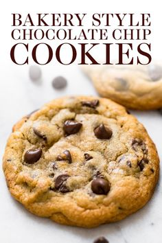 Ultra thick Bakery Style Chocolate Chip Cookies feature golden brown edges with soft and chewy centers. This easy homemade, from-scratch recipe can be made in 30 minutes! The BEST cookie I have ever tried.