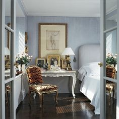 chair, interior, tiger, blue, animal prints, bedside tables, guest rooms, traditional homes, bedroom