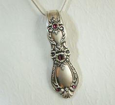 Spoon Necklace, Spoon Pendant, Heritage 1953, Fuchsia Swarovski Crystals