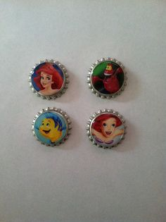 The Little Mermaid Bottle Cap Magnets  Set of by WhimsyWoodcrafts, $4.50