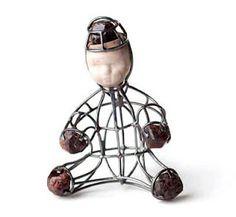 Gregory larin. untitled  pendant object - garnett, money, ready-made doll head mixed media