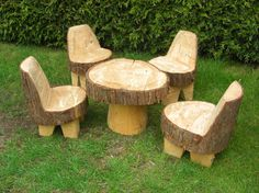 Children's Garden Furniture Set- no need for legs on the chairs, just have the base a little higher