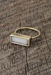 white stone ring - L